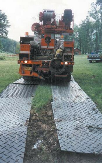 Plastic Alturnamats Used As Ground Protection For Heavy Equipment