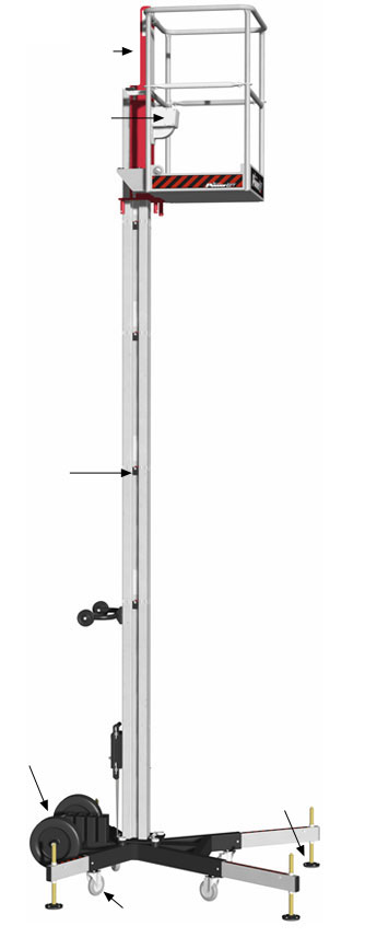 20' Sectional Mast Lift Rental, Push Around