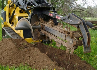 Trencher Attach. Rental, Stand On Skidloader 36