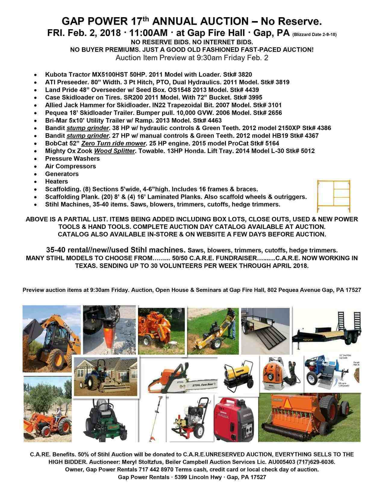 2018 Auction Scheduled For Friday Feb. 2 2018 at 11:00 am.